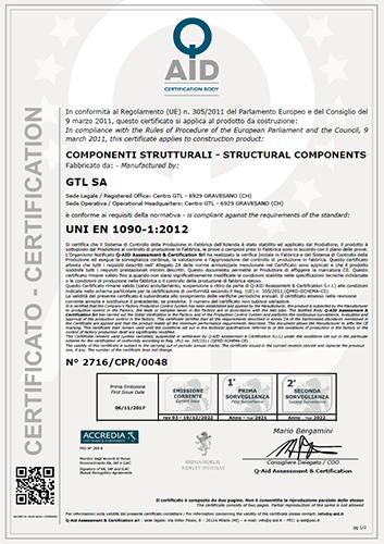 Certificato di Conformità CE Componenti Strutturali