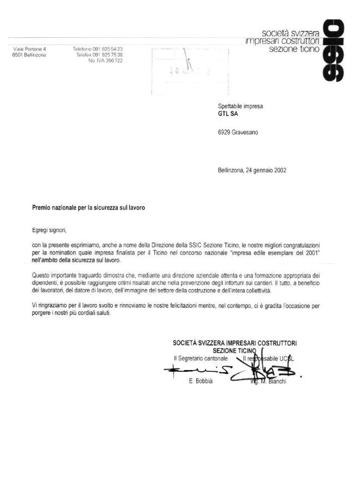 Lettera Referenza SSIC