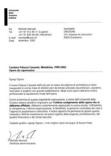 Lettera Referenza Università della Svizzera Italiana